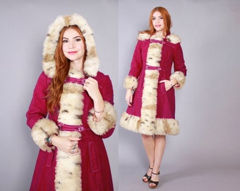 Vintage 60s Mod COAT / 1960s Fitted Magenta Coat with Shaggy Spotted Faux Fur & Hood