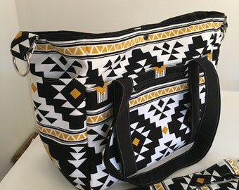 Black and Gold New Large Sizer XL Diaper Bag  with NEW Zippered Pocket in Front USE mishmash16 to get 15% off