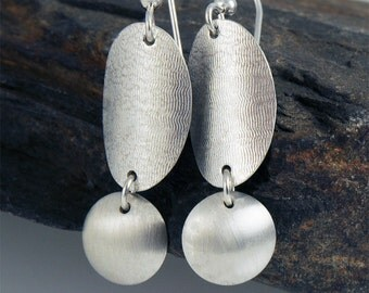 Oval and Disk Earrings, Eco Friendly Sterling Silver Earrings, Brushed Metal Earrings