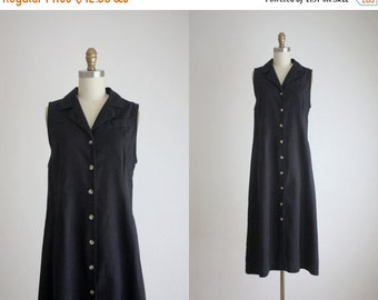VACATION SALE. black linen field dress