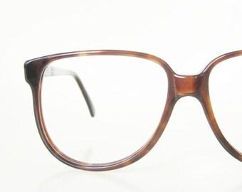 ON SALE 1980s Oversized Wayfarer Eyeglasses Womens Glasses Amber Tortoiseshell Dark Brown Large Eighties Retro Libco USA Deadstock Nos