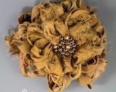 "Gold Sari Silk Flower Brooch, Handmade 3 3/4"" Sari Silk Camel Flower Brooch, Muted Gold Silk Flower Brooch, Fabric Flower Pin"