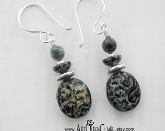 Black and Silver Czech Glass Bead Earrings with Sterling Silver Earwires