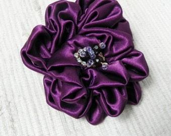 Dark Violet Fabric Flower Brooch - Flower Pin - Hat Decoration - Dark Purple Fabric Flower Pin with Beaded Center