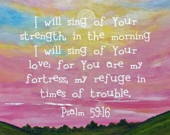 Bible Verse Sunrise Print Scripture Art Christian Gift Psalm 59:16