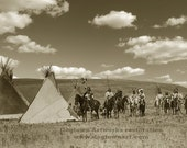 A Gathering War Party, Professionally Restored Vintage Native American Photograph Reprint of A'aninin Tribe by Edward Curtis