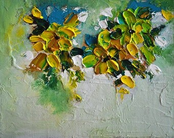 Original Abstract Oil Painting on Panel Impasto Yellow Green Flowers Heavy Textured Painting  7x10""