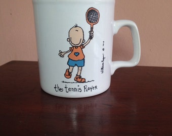 Vintage TENNIS Mug 1970s Coffee Cup William Eagan Kiln Craft The Tennis Player England
