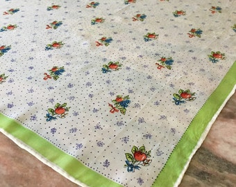 Vintage Silk Scarf Spring Green Fruit and Flowers Small Square Posy 50s
