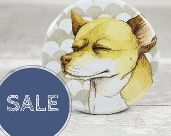Pocket mirror with yellow chihuahua - dog drawing pocket mirror