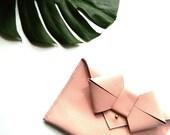 Aoki Bow Leather Clutch - Blush