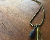 LALI Necklace - vintage brass charm, African trade bead charm on brass ball chain