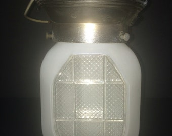 Vintage Frosted Glass Midcentury Light Fixture