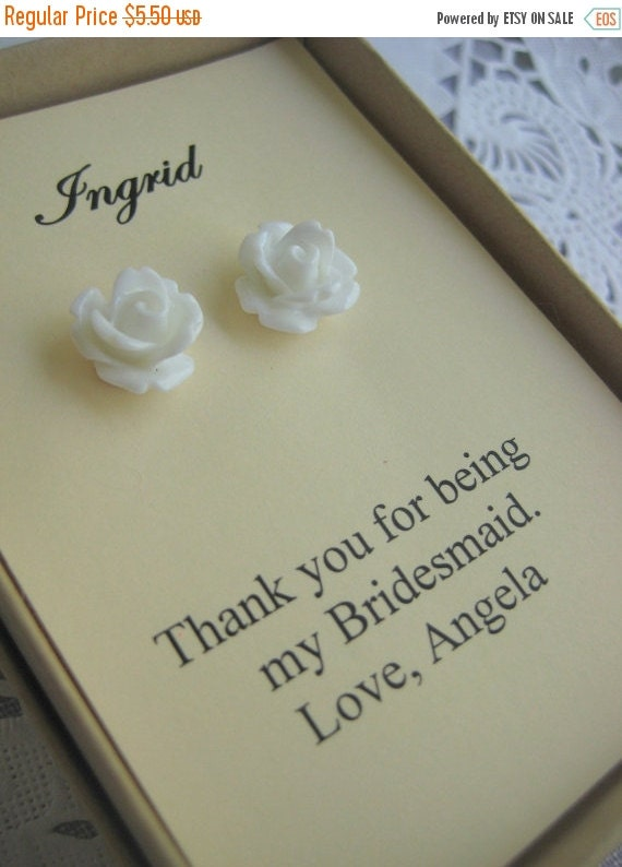 Autumn SALE Bridesmaids gifts, small sized rose stud earrings, personalized notecards, free jewelry box.
