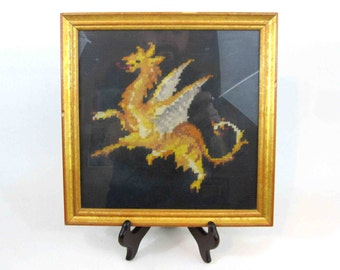 Vintage Needlepoint Dragon in Gold Frame. Ready to Hang. Circa 1960's - 1970's.