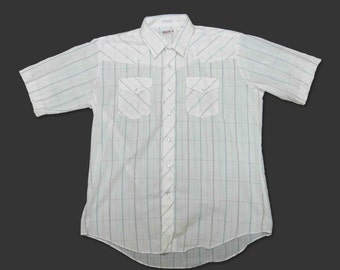 Vintage Miller Stockman Western Shirt in White Plaid. Short Sleeves. Circa 1970's.