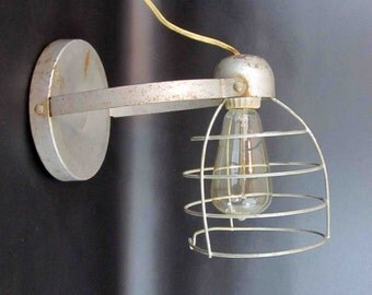 Vintage Industrial Wire Shade Work lamp. Circa 1960's.