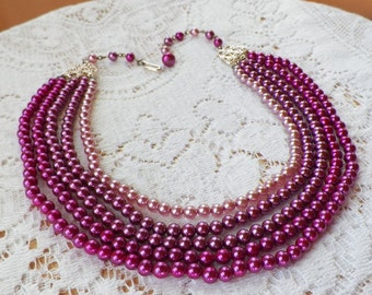 Luscious and Rich Vintage Five Strand Ombre Rose Pink Faux Pearl Choker / Necklace Signed Japan, Five Strands, Three Colors, Pearls
