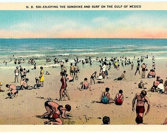 Vintage Florida Postcard - Sunshine and Surf on the Gulf of Mexico (Unused)