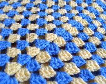 Baby Blanket Crochet Baby Boy Gift Unisex Baby Blanket Yellow Blue