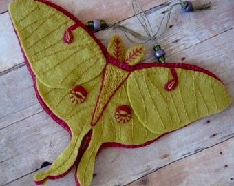 Luna Moth Ornament - Made to Order Embroidered Fiber Art