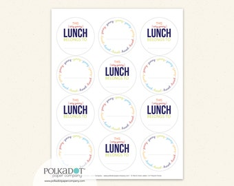 Personalized Yummy Lunch Labels - Set of 12 Sticker Notes