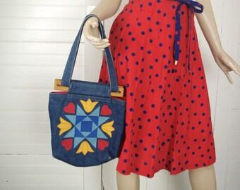 70s Denim Purse- Calico Flowers- 1970s Blue, Red, & Yellow Shoulder Bag- Hippie / Boho / Festival
