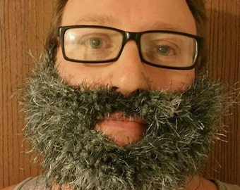 Gray - Fuzzy Burly Beard and Mustache - Pair with Any Hat You Own - Adult - Made to Order