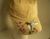 Women's Baseball Cap Beige with Hand Painted Hummingbird and Cherry Blossoms