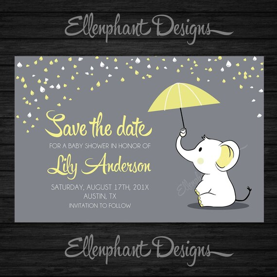 save the date yellow elephant baby shower umbrella rain baby