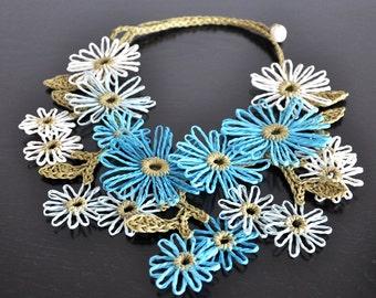 Holiday - Water - Handmade Paper Raffia Daisy Bib Necklace
