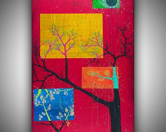 "Hand-Painted Original Acrylic on Canvas Red Black Trees Seasons Abstract Painting by Robin Winningham 36"" x 24"""