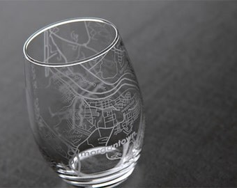Morgantown - West Virginia University - College Town Map Stemless Wine Glass