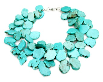 Turquoise STATEMENT Necklace Goddess Necklace Chunky Blue Green Slabs Cluster Necklace High Fashion Hollywood Couture by Mei Faith
