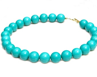 Turquoise STATEMENT Large Chunky Beaded Southwest Single Strand Robins Egg Blue Classic Twist High Fashion Celebrity Style by Mei Faith