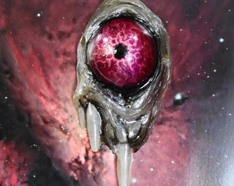 pink eye hand painted resin cast cyclops pendant
