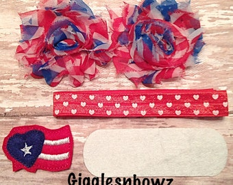 DIY Headband Kit- 4th of July Headband Kit- Makes 1 headband, Do it Yourself- Feltie Headband- Baby Headband Kit- DIY Supplies