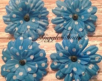 Polka Dot Daisies- 4pc Silk Gerbera Daisy Flower Heads- Turquoise Daisies- DIY Headband Supplies- Fabric Flowers- Craft Supplies