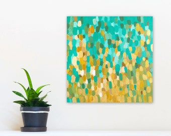 Aqua Gold Abstract Painting, 12x12 Canvas Wall Art, Original Acrylic, Coastal Home Decor beach colors turquoise gold sand, Jessica Torrant