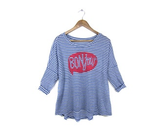 Bonjour 3/4 Sleeve Tee - Oversized Boxy Scoop Neck Tunic T-Shirt in Blue and White Stripe - Women's XS-2XL Q