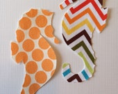 2 Diy Small Fabric Iron On Seahorse Appliques
