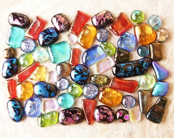 Lot of 60 Dichroic Fused Glass Beads Cabs Cabochons