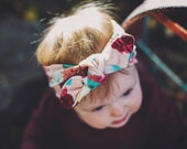 pink floral knotted tie headband