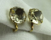 Circa 1960's Brilliant Cut Citrine Quartz Earrings