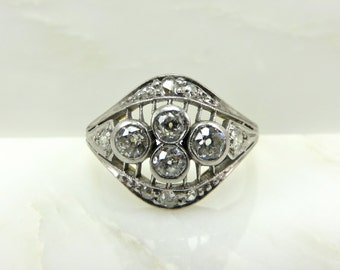 On Sale! Appraisal Value 4,850. Circa 1910 18KT Gold and Platinum ring set with Old European Cut Diamonds