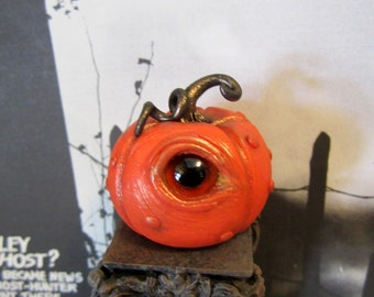 Spooky Eye Pumpkin ooak dollhouse miniature, halloween, witch in 1/12 scale