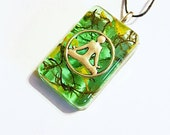Meditation Real Flowers Moss Necklace Bohemian Jewelry Yoga Pose Meditate Charm Spiritual Resin Pendant Nature Symbol Yellow Green