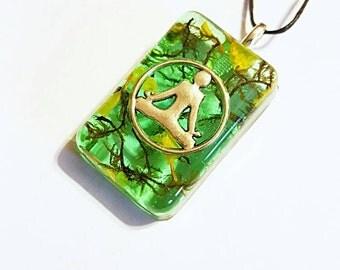 Meditation Real Flowers Moss Necklace Bohemian Jewelry Yoga Pose Meditate Charm Spiritual Resin Pendant Nature Symbol Yellow Green