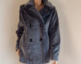womens faux fur coat, vintage 90s faux fur coat, gray coat