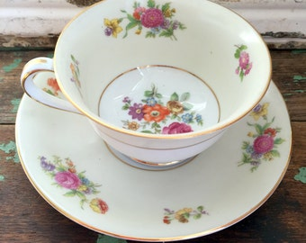 Vintage Teacup Tea Cup and Saucer  Pale Yellow Roses and flowers